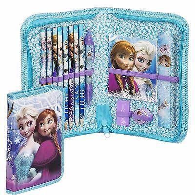 Disney Frozen Girls Deluxe 14 Pieces Filled Pencil Case Set School Stationery