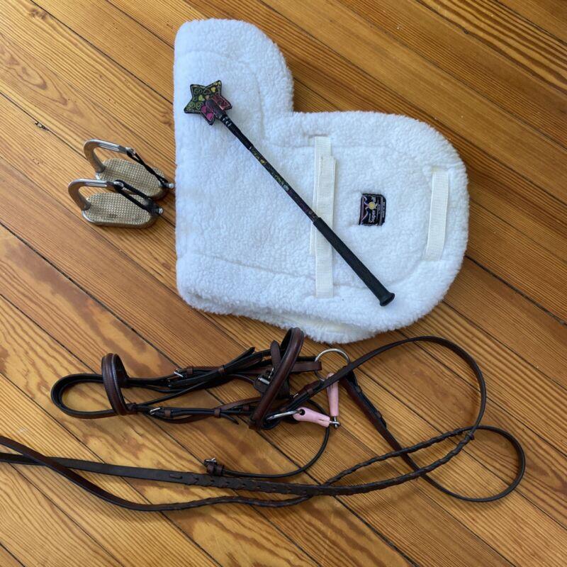Dover Saddlery Pony Bridle, Saddle Pad, Stirrups & Crop- Pony Stuff!
