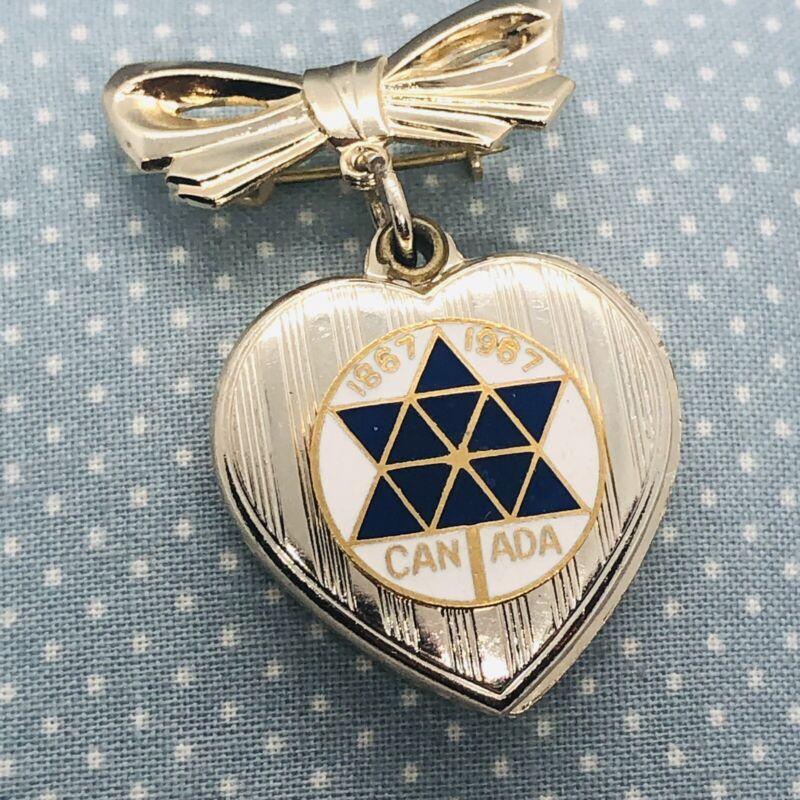 Vtg 1967 Canadian Centennial Expo 67 Heart Shaped Locket Lapel Pin w/ Bow