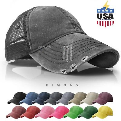 Mesh Back Baseball Hat (Mesh Back Distressed Trucker Cap Hat Cotton Solid Washed Polo Style Baseball )