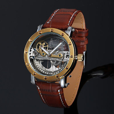 (Brige Transparent Skeleton Mechanical Mens Watch Gold Brown Leather Luxury Dial)