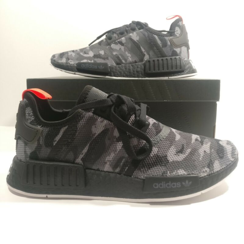 31e74c776 Mens Adidas NMD R1 NYC Black Camo NYC Letters Boost Shoes G28414 Multi Size