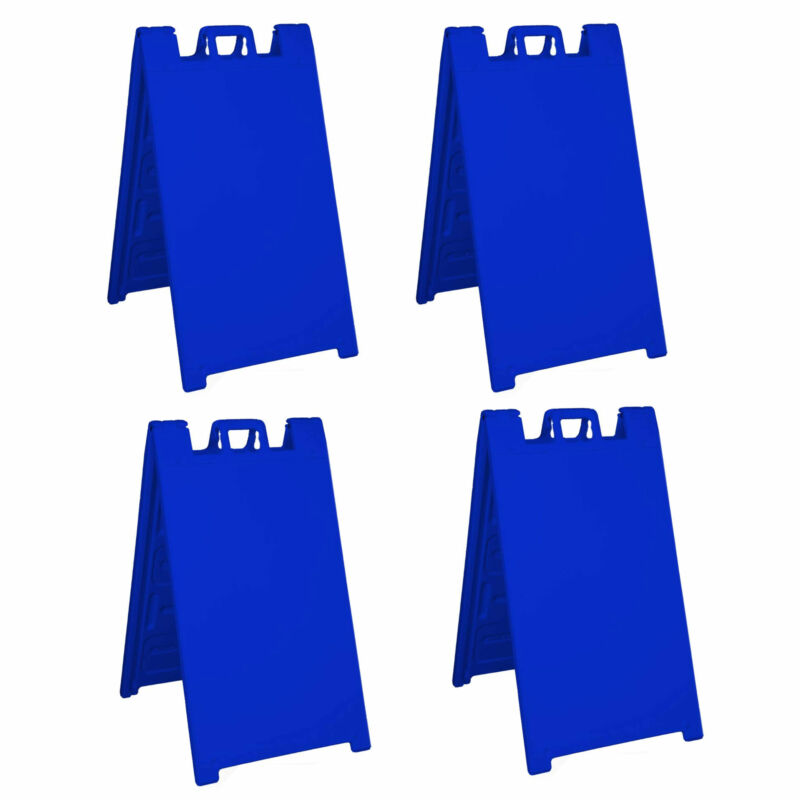 Plasticade Signicade Folding Sidewalk Double Sided Sign Stand, Blue (4 Pack)