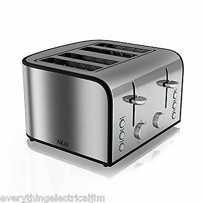 Akai A20002 4 Slice Toaster Stainless Steel