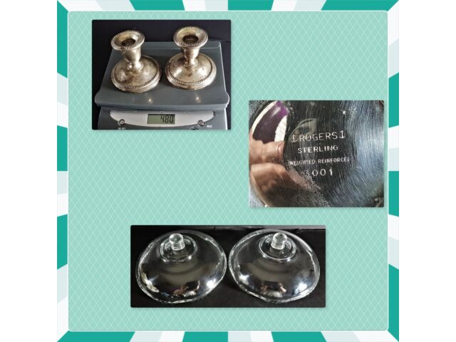 Pair Wm Rogers Sterling Silver Candle Holders Weighted Reinforced 3001 Compote