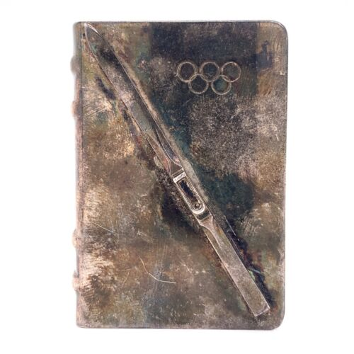 Estate Sterling Silver Ski Olympic Ring Olympics Matchbook Cover Slide Cover! 96