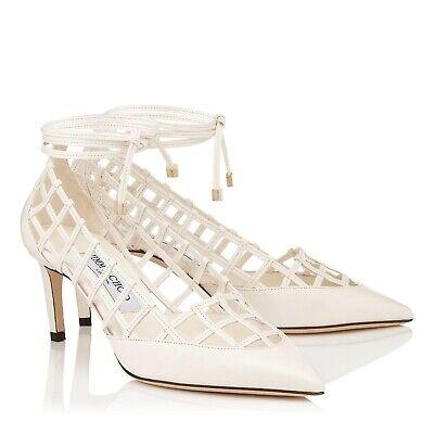 Jimmy Choo 'Soraya' Chalk White Leather Mid Heels Pumps Size Uk 3.5 Eu 36.5 New