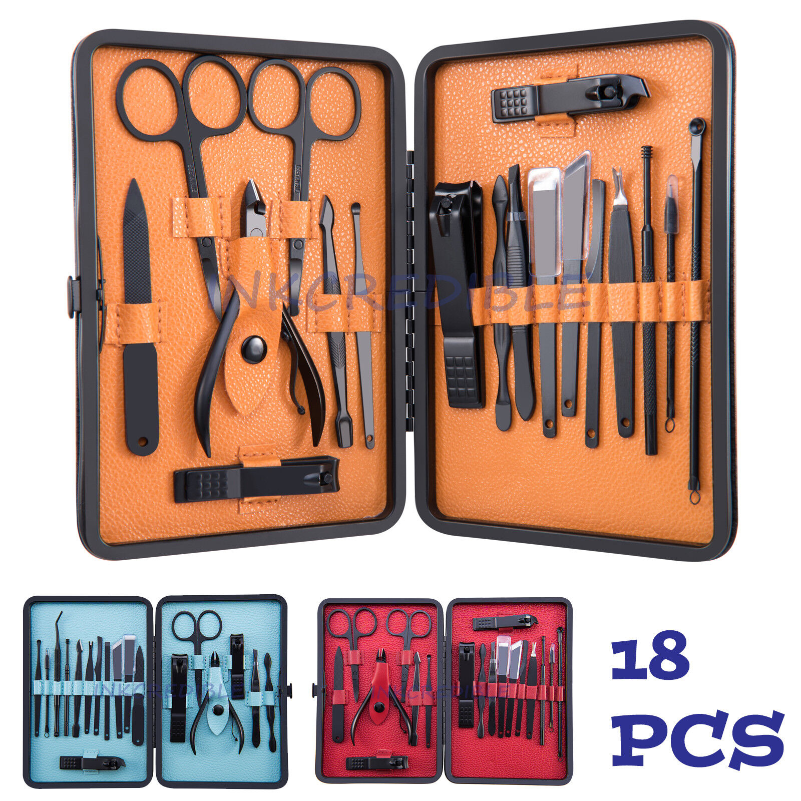 18PCS Pedicure / Manicure Set Nail Clippers Cleaner Cuticle Grooming Kit Case Health & Beauty