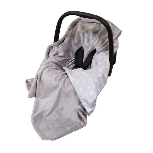 NEW COTTON & SOFT PLUSH BABY CAR SEAT WRAP / BLANKET - GREY/GREY + ARROWS
