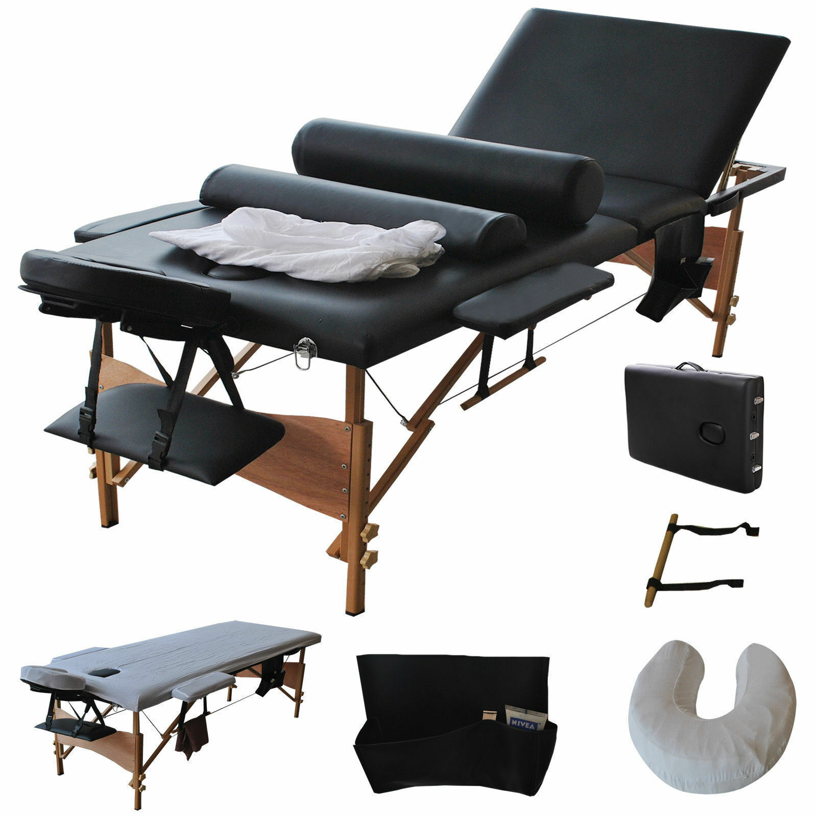 Table Facial Bed Portable W/2 Bolster+Sheet+Cradle Cover 3 F