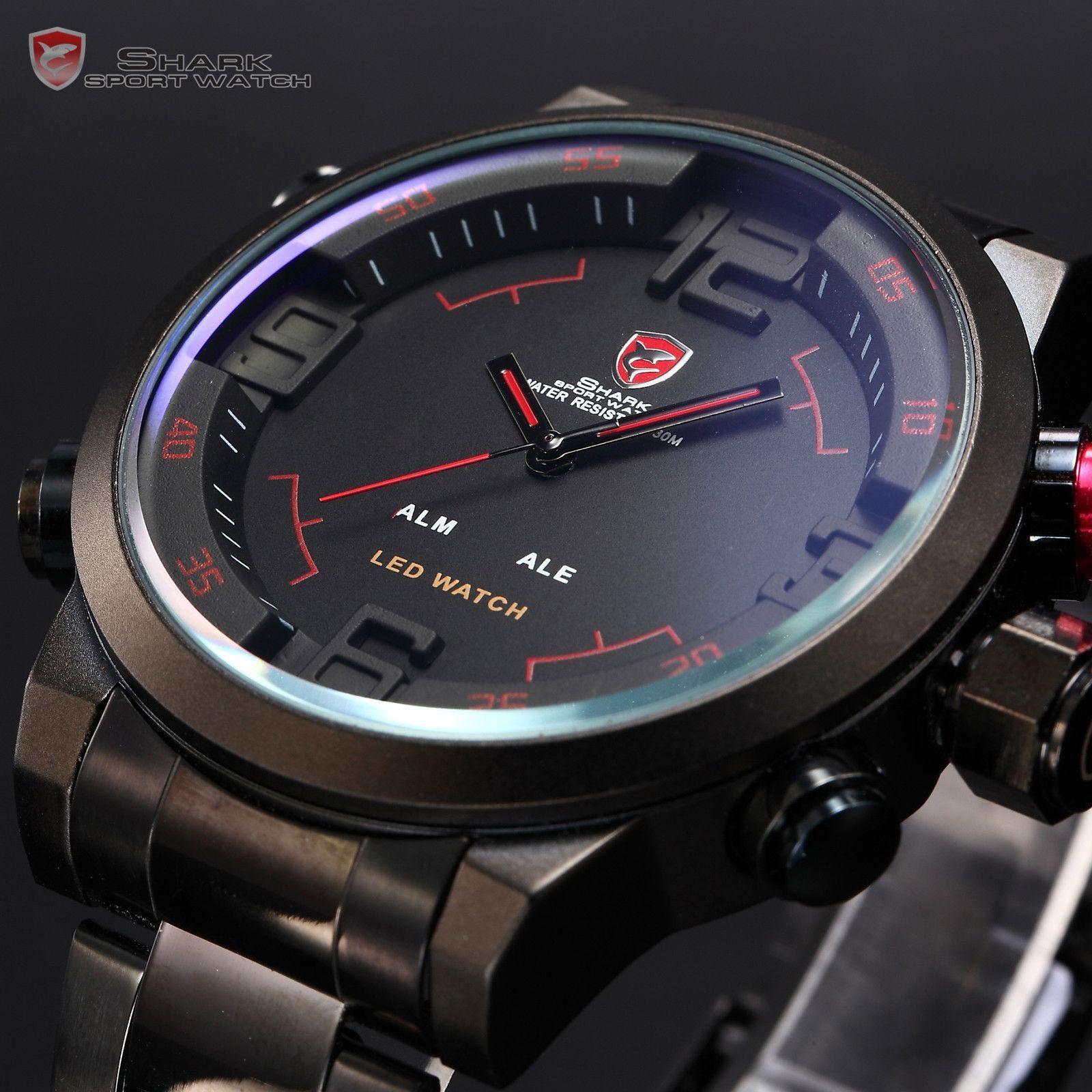 Gulper SHARK Men Digital Wrist Watch Stainless Steel Quartz Army Sport