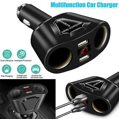 - Car LCD Cigarette Lighter Socket Splitter DC 12V Dual USB Charger Power Adapter
