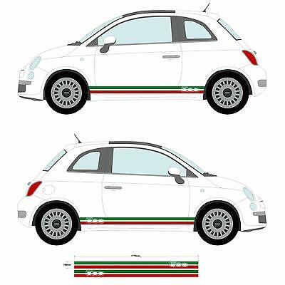 Fiat 500 Italian Flag side skirt stickers Car decal graphic stripe