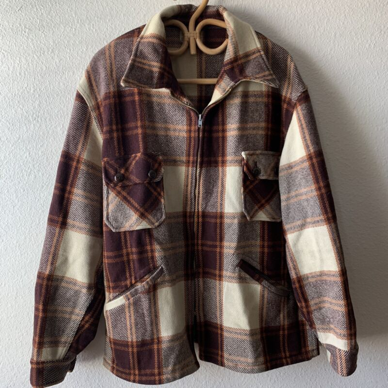 Vintage Chippewa Wool Plaid 40s 50s Mens Jacket Chore Hipster Distressed Hunting