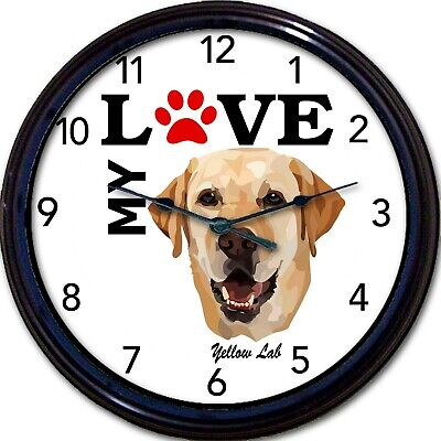Yellow Labrador Dog Puppy Wall Clock I Love My Yellow Lab Canine Dogs New 10""
