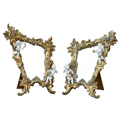 Pair Ornate Gold Metallic White Angel Cherub Bedroom Dressing Table Mirror Set 2