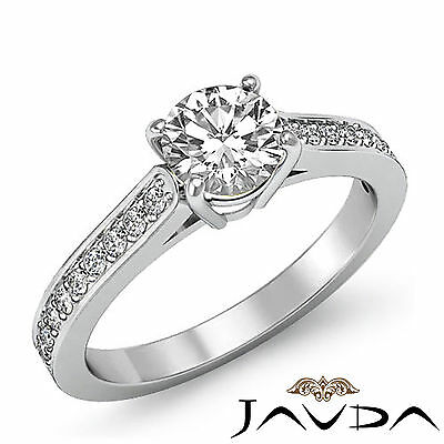 Classic Round Diamond Fine Engagement Pave Ring GIA H SI1 14k White Gold 1.25 ct
