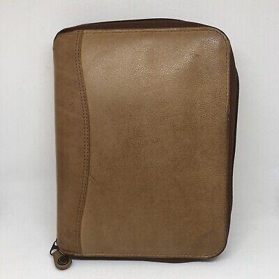 Vintage Franklin Quest Trapper Keeper Planner Genuine Leather Brown