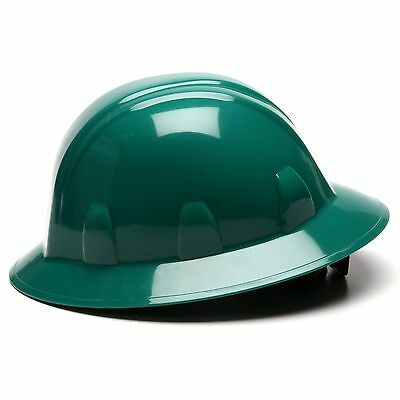 Pyramex Full Brim Hard Hat With 4 Point Ratchet Suspension Dark Green