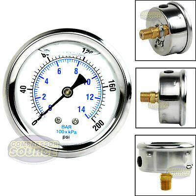 Liquid Filled 200 Psi Air Pressure Gauge Center Back Mount Mnt With 2.5 Face