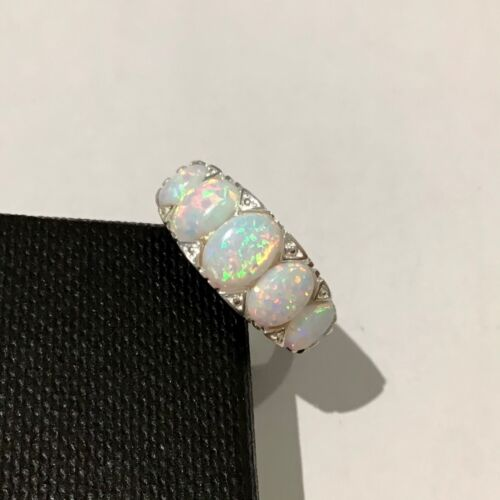 Antique Victorian style Celtic Fire Opal 5 stone set Ring Sterling Silver N½ R ½