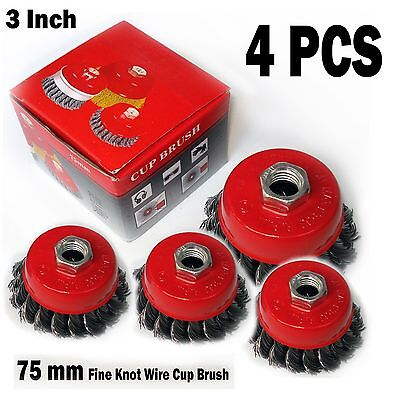 4 Pcs 3 X 58 11 Nc Fine Knot Wire Cup Brush Twist - For Angle Grinders Wheel