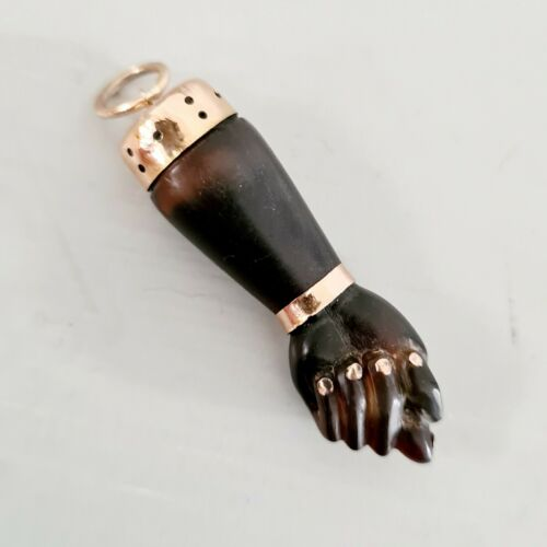 Antique 15ct Gold Carved Dark Brown Bakelite Mano Figa Hand Pendant circa 1920's