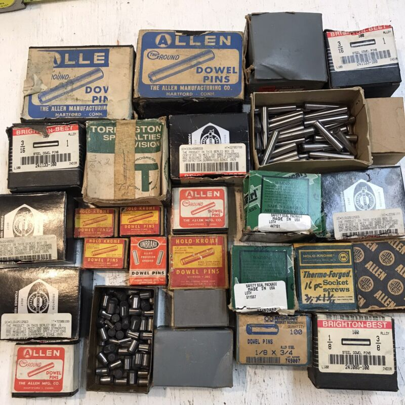Lot of machinist steel dowel pins PARTIAL BOXES - GOOD ASSORTMENT  - GOOD DEAL