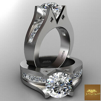 4 Prong Channel Setting Round Cut Diamond Engagement Ring GIA I Color VS2 1.85Ct