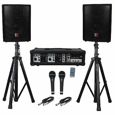 "Rockville RPG2X10 Package PA System Mixer/Amp+10"" Speakers+S"