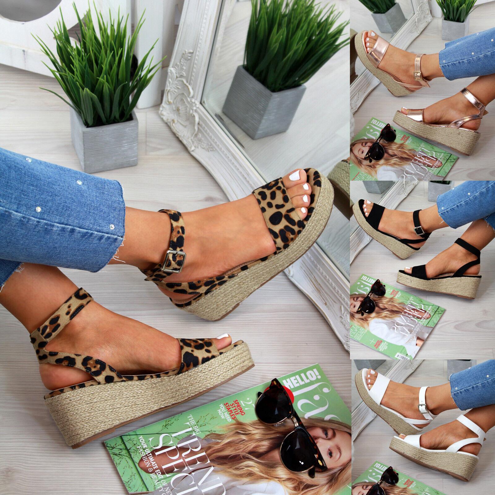 Women Casual Platform Sandals Espadrille Ankle Strap Comfy F