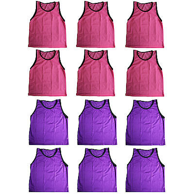 PINK & PURPLE ADULT COMBO 12 Pack- SCRIMMAGE VESTS PINNIES - Soccer, Softball US