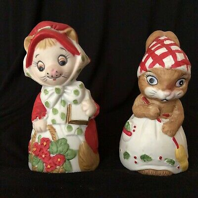 Pair of Vintage Jasco Critter Bell Bisque Porcelain Lady Cat Bunny Christmas
