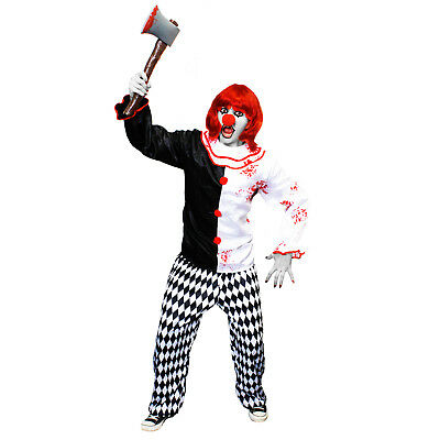HALLOWEEN FRAUEN CLOWN KOSTÜM UNISEX BLUTIGE GRUSEL HORROR VERKLEIDUNG SET  - Halloween Clown Kostüm Frauen