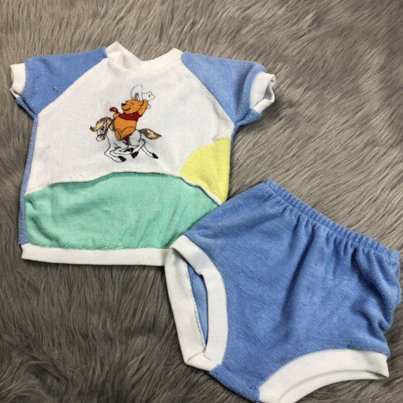 Vintage Winnie The Pooh Disney Terry Cloth Cowboy Blue Green Top Bloomers Set