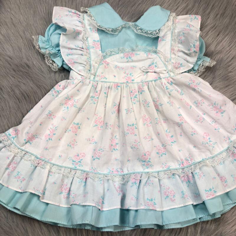 Vintage Toddler Girls Blue Pink White Floral Lace Ruffle Pinafore Dress