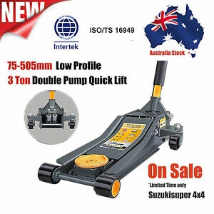 3 Ton Lifting Capacity Quick Lift Trolley Jack Double Pump Hydraulic Low Profile
