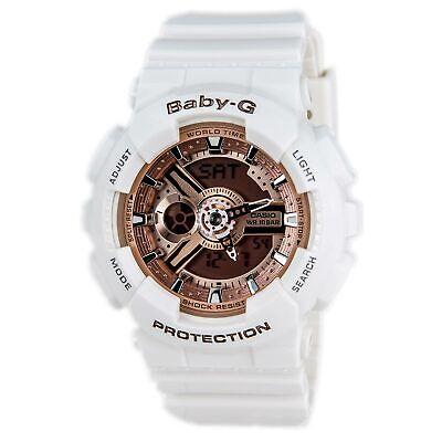 Casio BA110-7A1 Women's Baby-G Rose Gold Dial White Resin Strap Chrono Watch