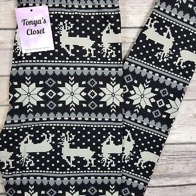 PLUS Gray Black Reindeer Snowflake Holiday Print Leggings Butter Soft 10-18 TC