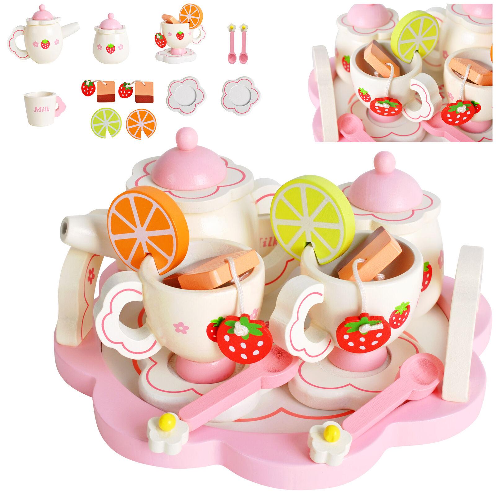 Kinder Teeservice Set Holz  Zubehör für die Kinderküche, 16-tlg. ab 3 Jahre 9418