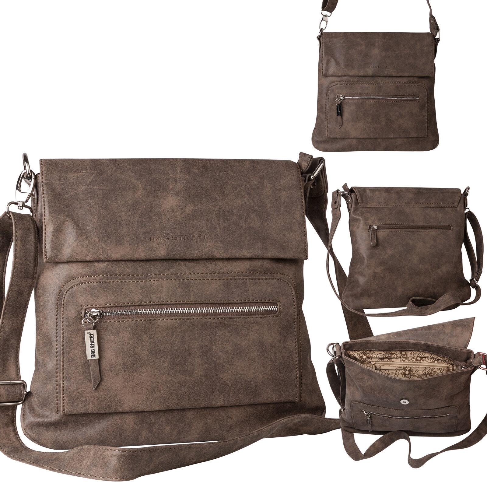 Bag Street Damentasche Umhängetasche Handtasche Schultertasche K2 T0103 Braun
