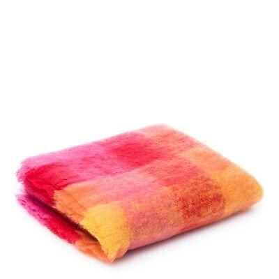 Plaid Mohair Rose Orange Jaune - 75% Mohair, 20% Laine - 170cm x 140cm