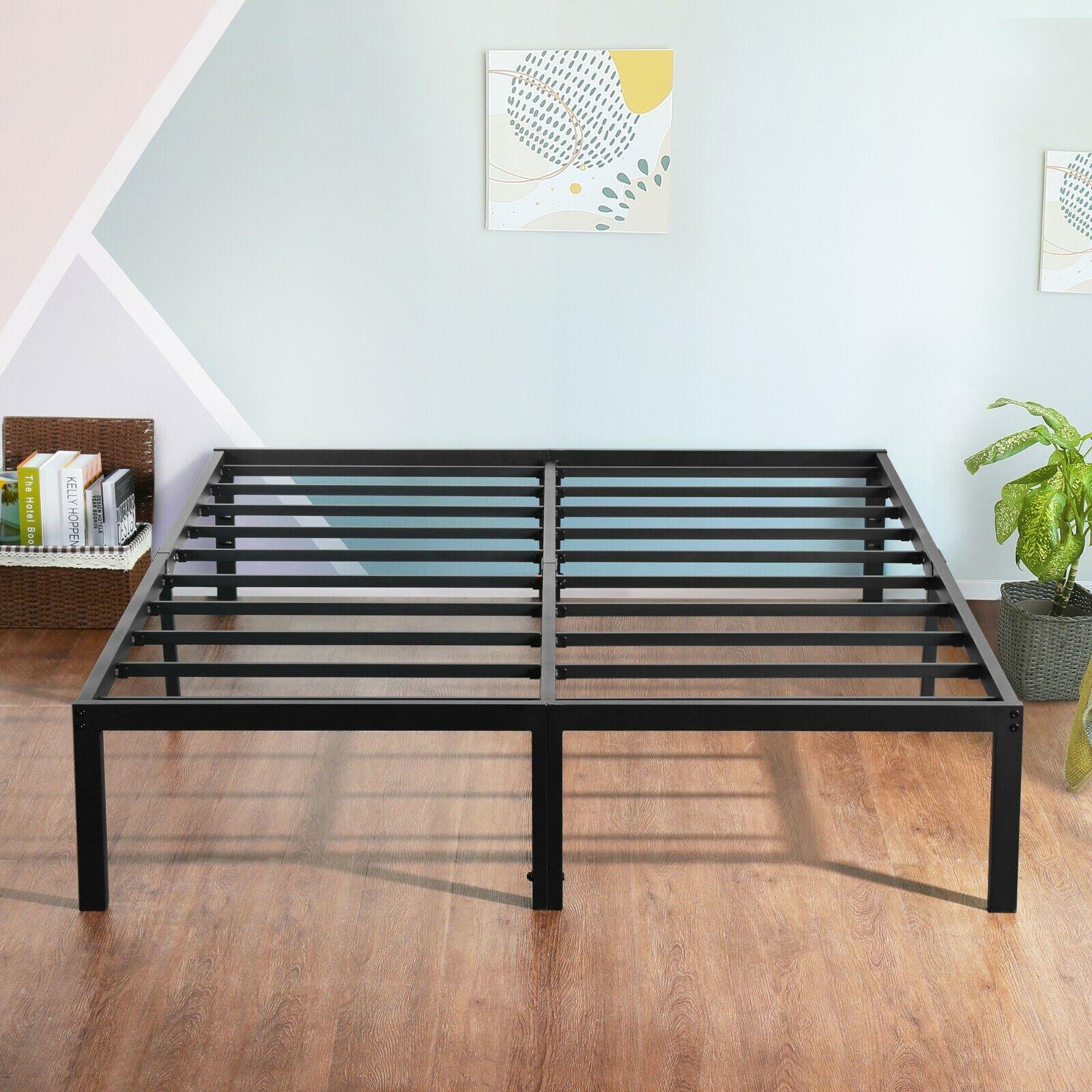 """SLEEPLACE 18"""" Tall Metal Slat Platform Foundation Bed Frame"""