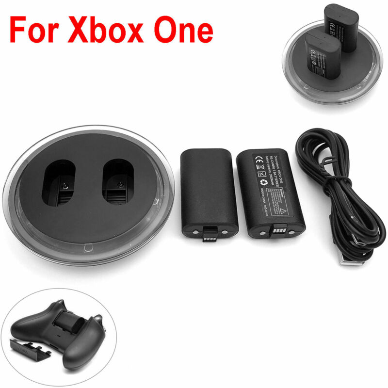 For Xbox One S X Elite Controller Play Charging Cable + 2 x 2800mAh Battery Pack