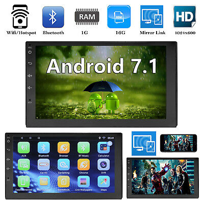 "Bluetooth Car Stereo Radio 2 DIN 7"" Touchscreen HD MP5 FM Player GPS Android 7.1"