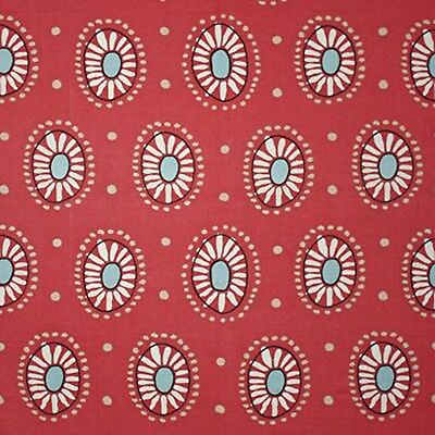 100% Linen Print  Drapery Fabric by Clarence House R$156yd Marisol CL Dark Pink Linen Drapery Fabric