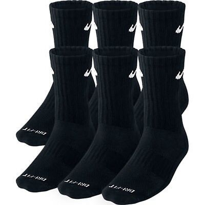 NWT Men's Nike Dri-Fit Drift Crew 6-Pack Pairs Socks Black Cushioned Medium M