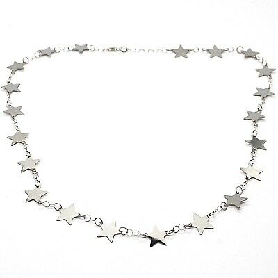 White Gold Flat Star (18K WHITE GOLD NECKLACE, FLAT STARS, STAR, 16.5 INCHES, MADE IN ITALY )