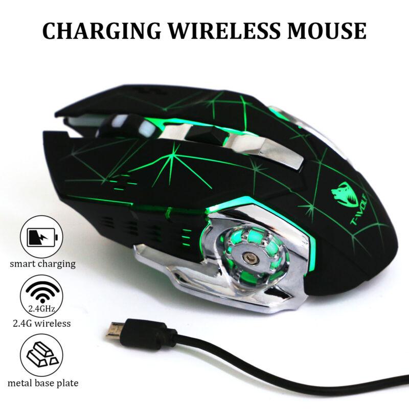 USB Gaming Maus Wireless Kabellos Maus LED Laser Funkmaus Laptop Notebook PC DHL