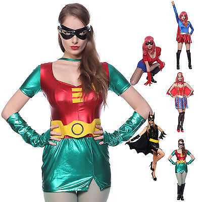 Superheldin Super Woman Sexy Robin Batgirl Super girl Kostüm Damen schicke Kleid